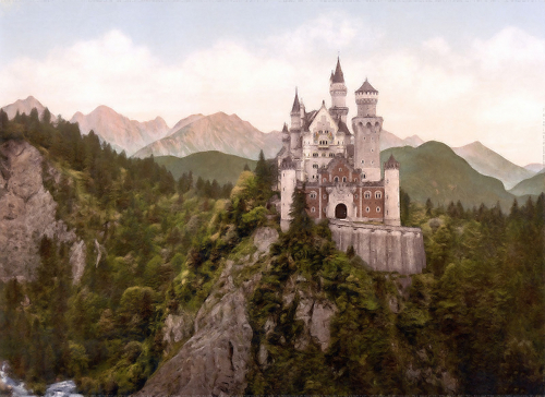 A photochrom print of the front of Neuschwanstein Castle, Bavaria, Germany taken as few as ten years after the completion of the castle