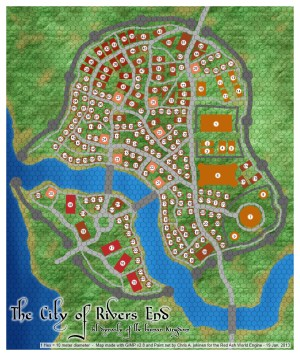 Small Map of the City of Rivers End